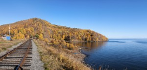 The Circum-Baikal Railway - historical railway runs along Lake baikal in Irkutsk region of Russia