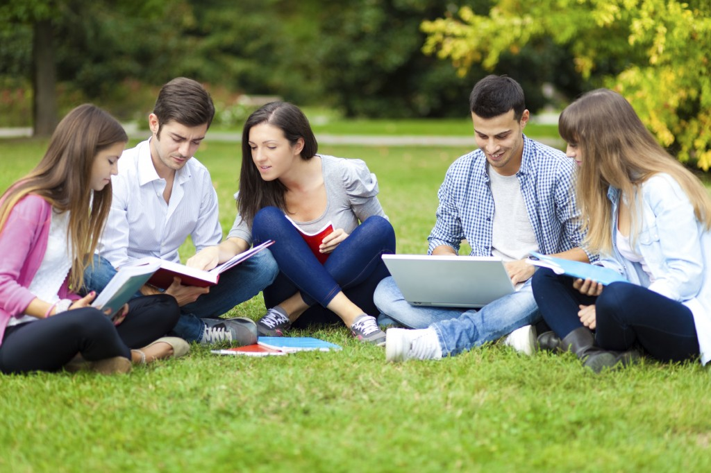 Group of Young  People Studying in Park -iStock_000035621698_Large