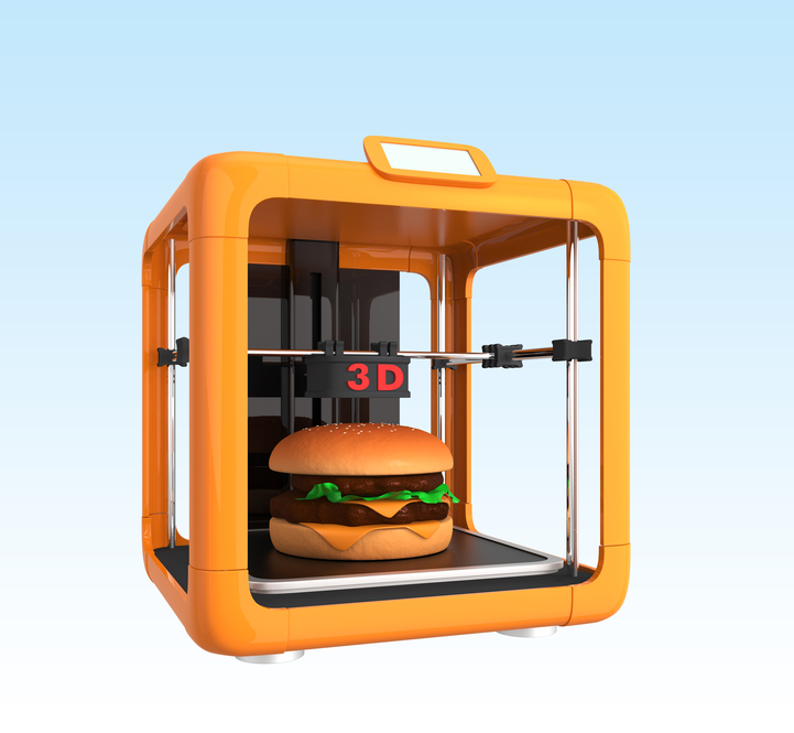 3D printer and hamburger,  concept for food printing.