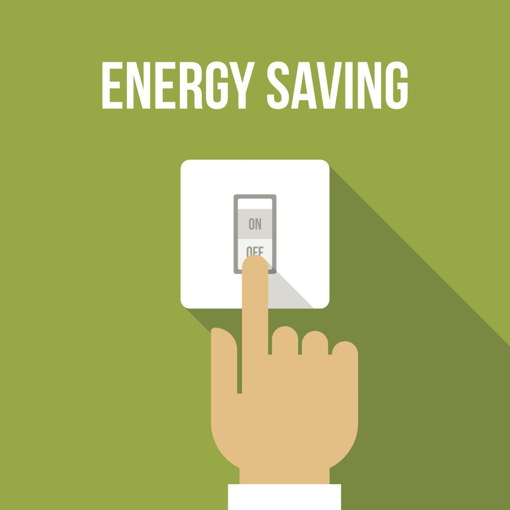 Vector concept of energy saving. Flat style. Turning off a light switch on a green background
