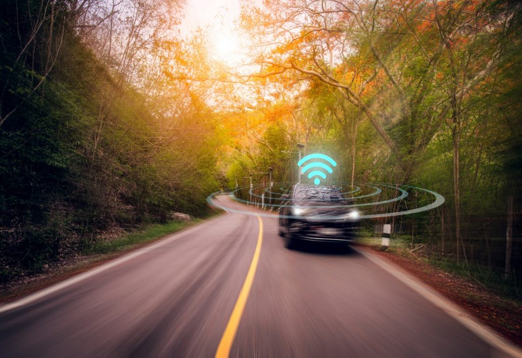 wi-fi symbol on vehicle on the road
